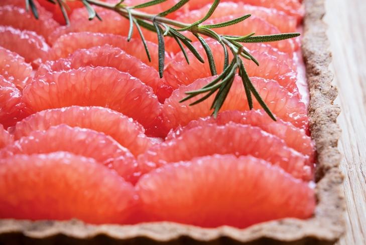 Red Grapefruit and Rosemary Tart