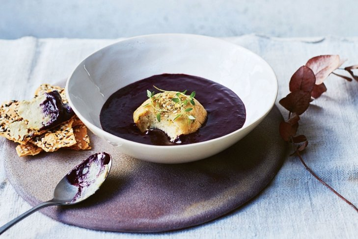 Nut Cheese with Chilled Blackberry Soup