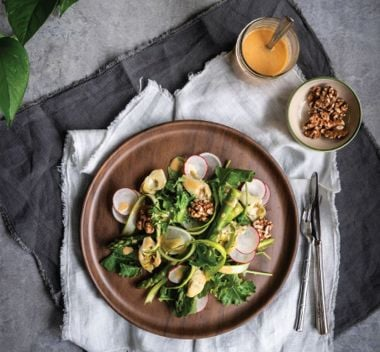 Asparagus Bouquet Salad with Smoked Rosy Tahini Dressing