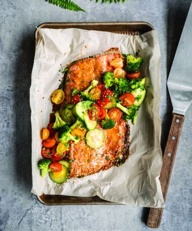Marinated Salmon Fillet with Vegetable Salad