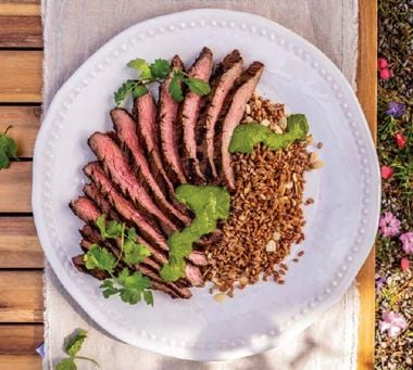 Flank Steak with Freekeh and Zhoug Sauce
