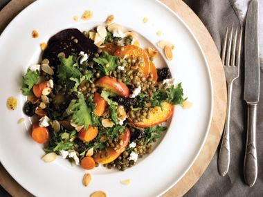 Roasted Beet, Apple, and Lentil Salad with Warm Maple Dressing