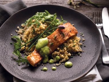 Slow Roasted Salmon with Cultured Avocado Sauce