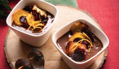 Mini Oat Milk Chocolate Mousse with Sweet Beetroot Chips