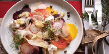 Root Veggie Carpaccio with Burrata Cheese and Capers