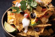 Taco Tower Crowd Pleaser with Lima Bean Spinach Hummus and Vegetable Medley