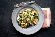 Roasted Vegetable Salad with Baby Kale, Apple, and Creamy Avocado