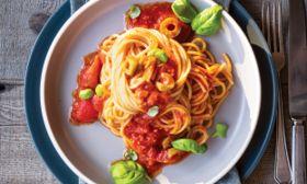 Spaghetti with Harissa Tomato Sauce