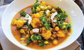 Spicy Chickpea, Chard, and Roasted Cauliflower Soup
