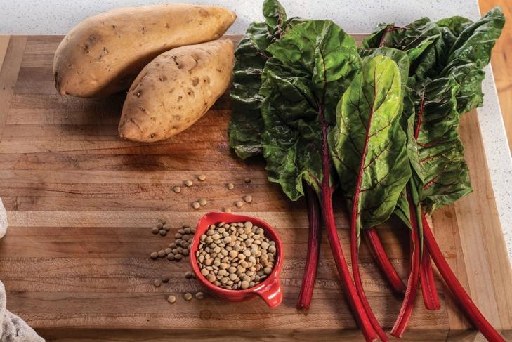 Potatoes, lentils, and kale