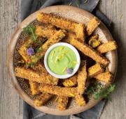 Dandelion Dip with Polenta Fries