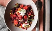 Warm Roasted Beetroot Salad with Pomegranate Arils, Nuts, and Horseradish Dill Cream