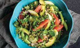 Buckwheat Groats, Greens, and Grapefruit Salad with Chive Vinaigrette