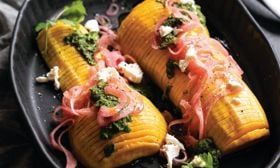 Hasselback Butternut Squash with Spicy Pickled Red Onion and Puréed Herbed Salsa