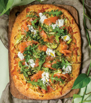 Asparagus Smoked Salmon Flatbread with Spring Greens