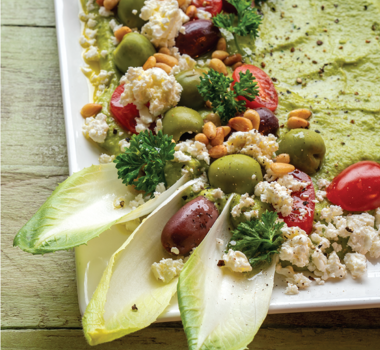 Creamy Loaded Pea Pesto Appetizer with Belgian Endive Scoops