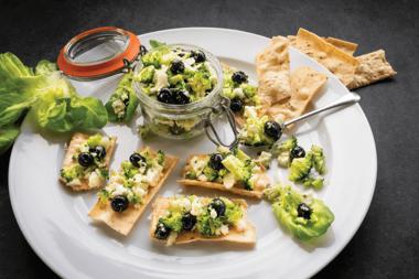 Raw Broccoli, Cauliflower, and Blueberry 'Caviar'