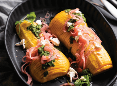 Hasselback Butternut Squash with Pickled Red Onion & Herbed Salsa