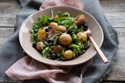 Warm Potato Salad with Blueberries, Pumpkin Seeds, and Lemon Yogurt Dressing