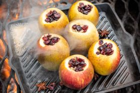 Breakfast Cinnamon-Baked Apples with Star Anise, Cranberries, and Sunflower Seeds