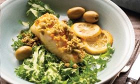 Grilled Halibut with Turmeric, Garlic, and Olives
