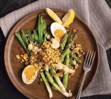 Asparagus Egg Salad with Tahini Miso Dressing
