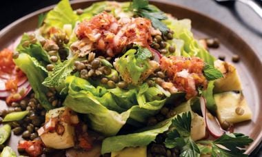 Halloumi Lentil Fattoush Salad with Tomato Vinaigrette