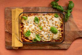 Plant-Based Eggplant Lasagna with Chickpeas, Marinara, and Tofu-Cashew Ricotta