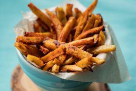 Harissa-Roasted Sweet Potato Fries with Pomegranate Molasses
