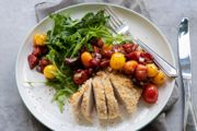 Roasted Berry Salsa Tumbled over Crusted Chicken Breasts