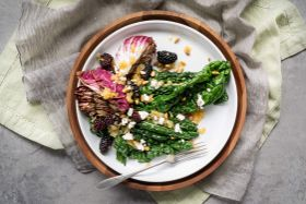 Grilled Greens with Warm Blackberries in White Balsamic Dressing