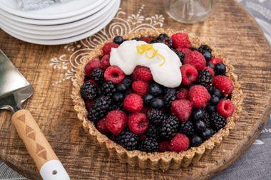 Glazed Bumbleberry Pie in Coconut Hazelnut Crust with Lemon Yogurt Drizzle