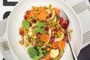 Sweet Lemon, Lentil, and Pomegranate Tray Bake  with Roasted Carrot, Zucchini, and Fennel