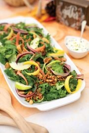Fig Kale Salad with Tangy Goat Cheese Dressing