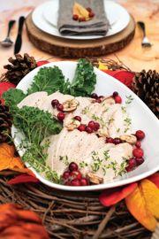 Poached Turkey with Cranberry-Mushroom Gravy