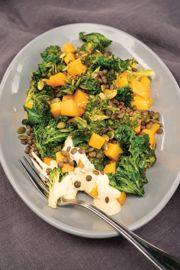 Colourful Roasted Veggies and Lentils with Crisped Kale and Creamy Vegan Mayo