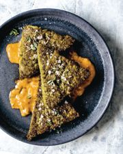 Spinach and Kale Grit Cakes with Creamy Creole Sauce