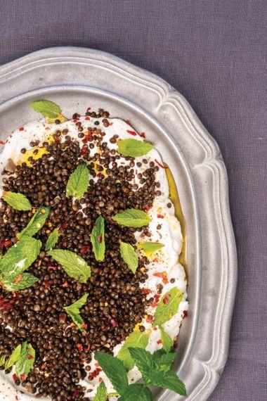 "Black ""Caviar"" Lentils Tumbled Over Creamy Yogurt with Mint"