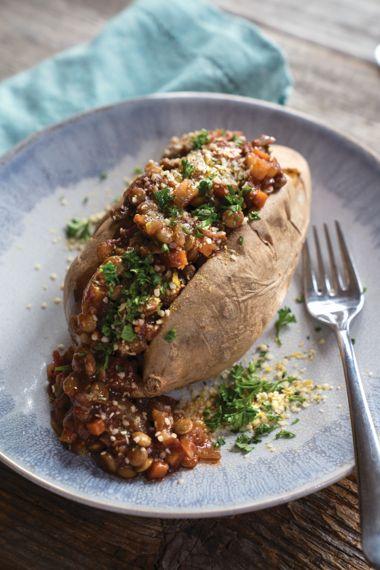 Lentil Bolognese Stuffed Potato with Hemp Parm