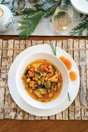 Saffron Chicken with Dried Apricots and Chickpeas