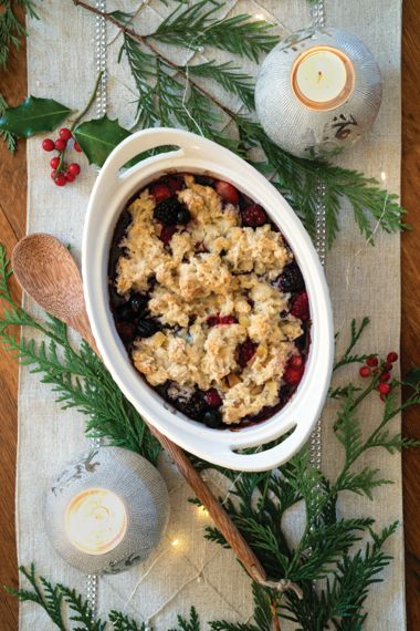 Mixed Frozen Berry Cobbler with Crystallized Ginger