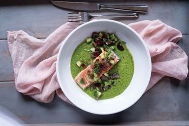 Salmon with Cucumber Grape Salsa