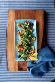 Creole Cauliflower Steaks with Spinach, Tomatoes, and Pine Nuts