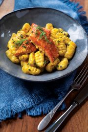 Rutabaga Gnocchi with Saffron Lemon Salmon