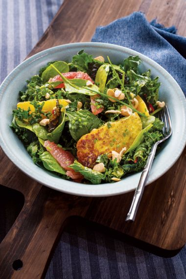 Halloumi and Citrus Salad with Curried Maple Dressing