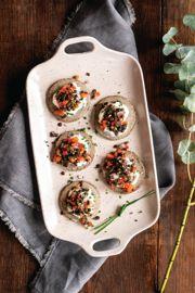 Beluga Lentil Caviar on Buckwheat Blinis