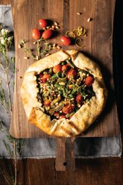 Rustic Spring Asparagus, Leek, and Cherry Tomato Galette