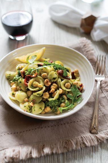 Chickpea Orecchiette with Arugula Horseradish Pesto