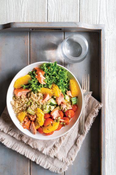 Salmon Quinoa Bowl with Golden Tahini Drizzle