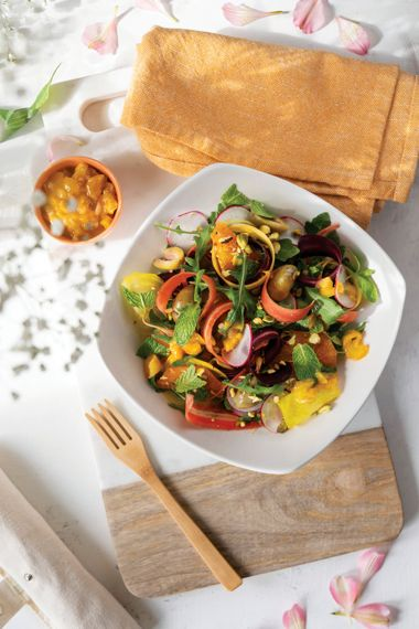 Carrot, Radish, and Beet Salad with Apricot Vinaigrette